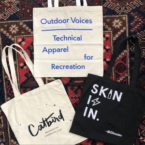 Glossier, Catbird NYC, Outdoor Voices totes.